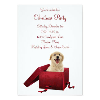 Red Present Puppy Christmas Party Invitations