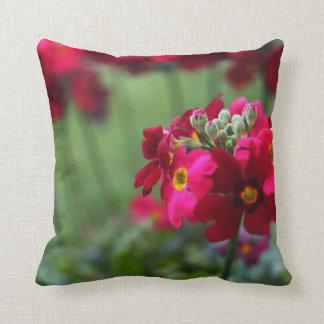 Red Primrose Throw Pillow