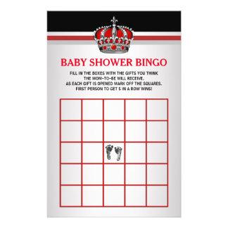 red prince baby bingo baby shower bingo card