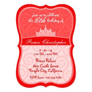 Red Prince Crown Spirals Birthday 5x7 Paper Invitation Card
