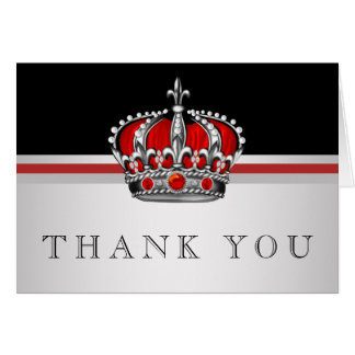 Red Prince Crown Thank You Cards
