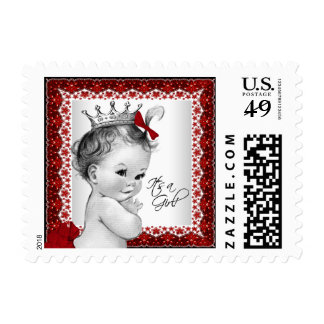 Red Princess Baby Shower Postage