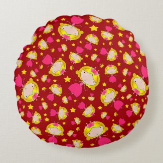 Red princesses and stars round pillow