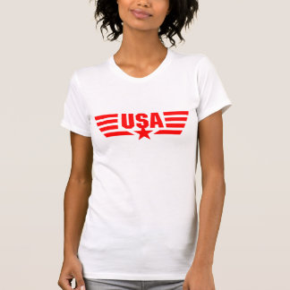 Red print USA Star and Stripes Wings T-Shirt
