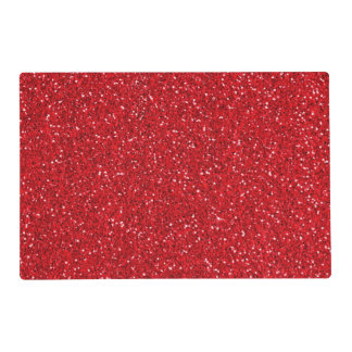 Red Printed Glitter - Not Real Glitter Laminated Placemat