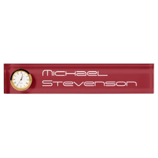 Red Professional Business Nameplate with Clock