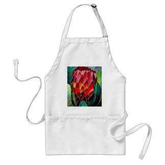 Red Protea flower original watercolour art Adult Apron