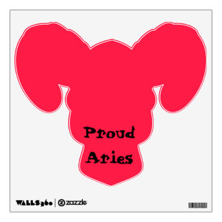 Red Proud Aries Wall Decal with Ram Head