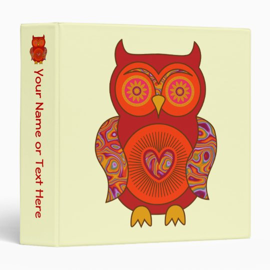 Red Psychedelic Owl 3 Ring Binder
