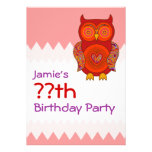 Red Psychedelic Owl Birthday Custom Announcements
