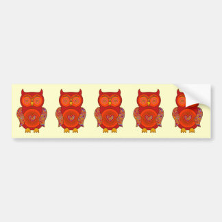 Red Psychedelic Owl Bumper Sticker