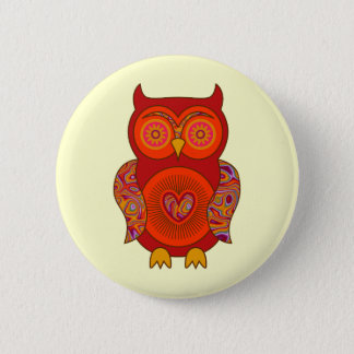 Red Psychedelic Owl Button