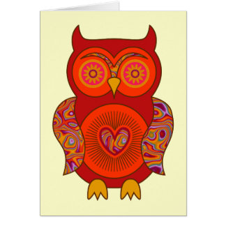 Red Psychedelic Owl Greeting Card