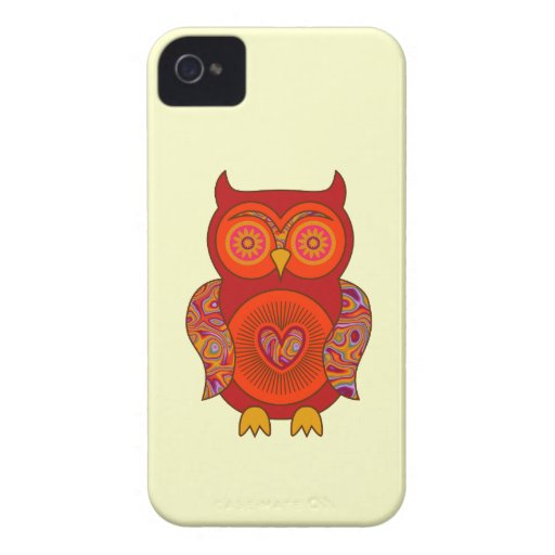 Red Psychedelic Owl Case-Mate iPhone 4 Cases