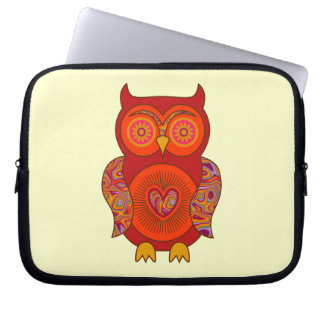 Red Psychedelic Owl Computer Sleeve