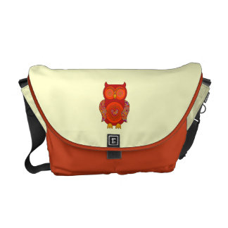 Red Psychedelic Owl Courier Bag