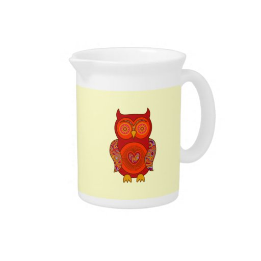 Red Psychedelic Owl Drink Pitchers
