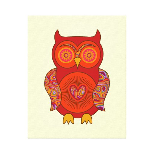 Red Psychedelic Owl Gallery Wrapped Canvas