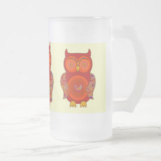 Red Psychedelic Owl Glass Frosted Glass Beer Mug