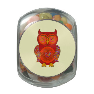 Red Psychedelic Owl Jelly Belly Candy Jar