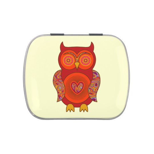 Red Psychedelic Owl Jelly Belly Tins