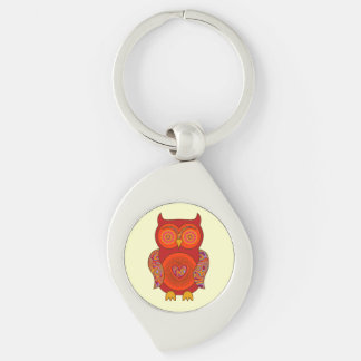 Red Psychedelic Owl Keychain