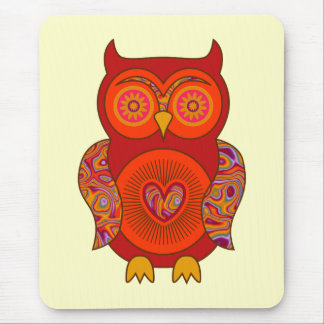 Red Psychedelic Owl Mouse Pad