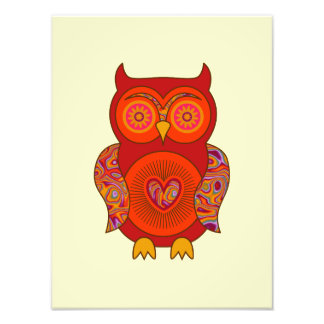 Red Psychedelic Owl Photographic Print
