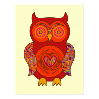 Red Psychedelic Owl Post Card