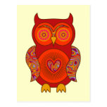 Red Psychedelic Owl Postcard