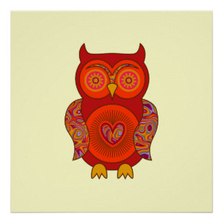Red Psychedelic Owl Print