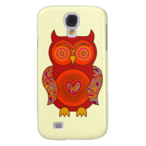 Red Psychedelic Owl Samsung Galaxy S4 Cover