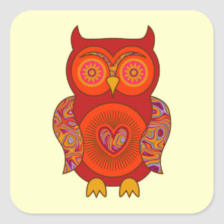 Red Psychedelic Owl Square Sticker