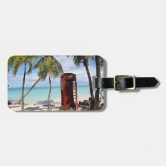 Red public Telephone Booth on Antigua Bag Tag