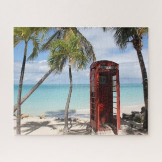 Red public Telephone Booth on Antigua Jigsaw Puzzle