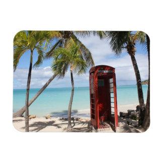 Red public Telephone Booth on Antigua Rectangular Photo Magnet