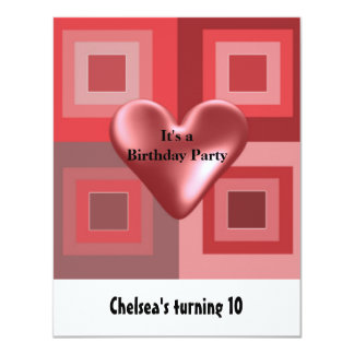 Red Puffy Heart Birthday Invitation