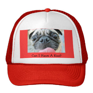 Red pug hat with a kiss