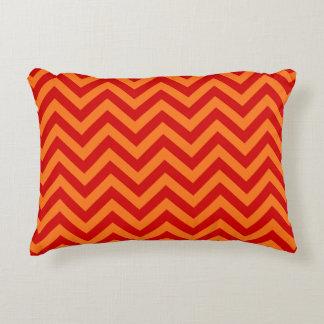 Red, Pumpkin Orange Large Chevron ZigZag Pattern Accent Pillow