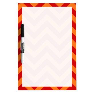 Red, Pumpkin Orange Large Chevron ZigZag Pattern Dry-Erase Board