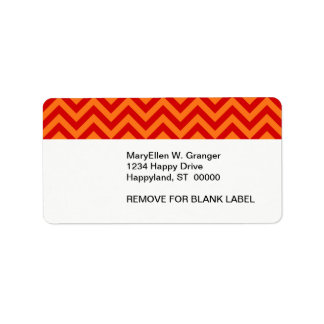 Red, Pumpkin Orange Large Chevron ZigZag Pattern Custom Address Labels