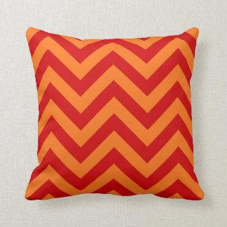 Red, Pumpkin Orange Large Chevron ZigZag Pattern Throw Pillow
