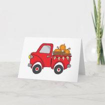 Red Pumpkin Pickup Truck Card