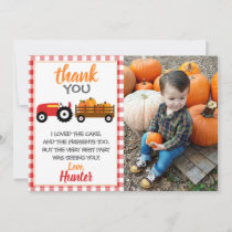 Red Pumpkin Tractor Thank You Card