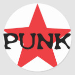 red punk star classic round sticker