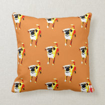 """red puppy """"Pattern - Puggle"""" Throw Pillow"""