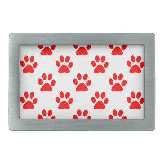 Red puppy paws pattern rectangular belt buckle
