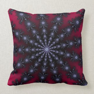 Red Purple and Black Fractal Star Throw Pillow