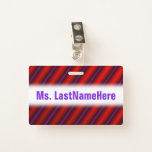 [ Thumbnail: Red, Purple and Black Laser-Like Line Pattern Badge ]
