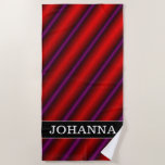 [ Thumbnail: Red, Purple and Black Laser-Like Line Pattern Beach Towel ]